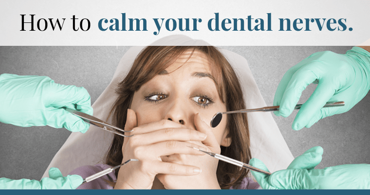 Woman scared of the dentist, trying to calm dental nerves and anxiety